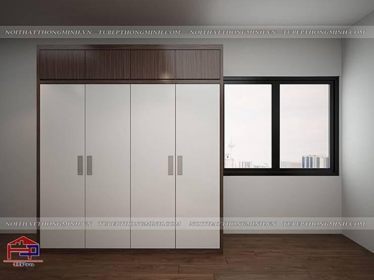 Ảnh 3D thiết kế nội thất phòng ngủ master nhà chị Giang ở Quảng Ninh - Thiết kế tủ quần áo melamine:  Bedroom by Nội thất Hpro