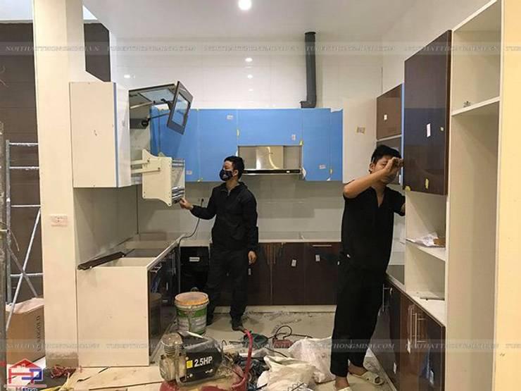 Thi công tủ bếp acrylic nhà chị Giang ở Quảng Ninh:  Kitchen by Nội thất Hpro