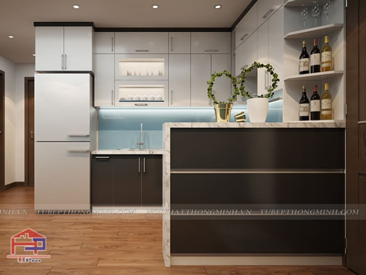 Ảnh thiết kế 3D bộ tủ bếp acrylic nhà chị Hiền ở Chung cư Hà Nội Center Point:  Kitchen by Nội thất Hpro