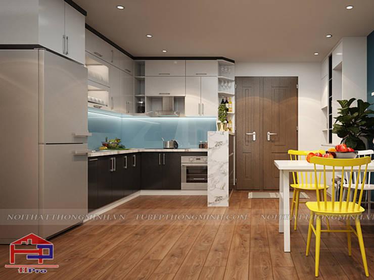 Ảnh thiết kế 3D bộ tủ bếp acrylic kịch trần nhà chị Hường ở Chung cư Hà Nội Center Point:  Kitchen by Nội thất Hpro
