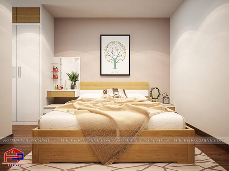 Ảnh 3D thiết kế nội thất phòng ngủ master gỗ công nghiệp An Cường nhà chị Hường ở Chung cư Hà Nội Center Point:  Bedroom by Nội thất Hpro