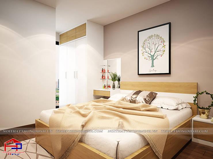 Ảnh 3D thiết kế nội thất phòng ngủ master gỗ công nghiệp An Cường nhà chị Hường ở Chung cư Hà Nội Center Point view 2:  Bedroom by Nội thất Hpro