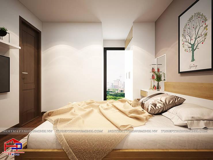 Ảnh 3D thiết kế nội thất phòng ngủ master gỗ công nghiệp An Cường nhà chị Hường ở Chung cư Hà Nội Center Point - view:  Bedroom by Nội thất Hpro