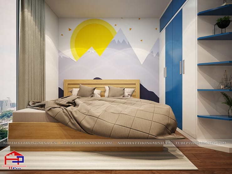 Ảnh 3D thiết kế nội thất phòng ngủ bé trai nhà chị Hường ở Chung cư Hà Nội Center Point:  Bedroom by Nội thất Hpro