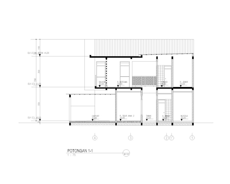 potongn bangunan:   by 3.se studio