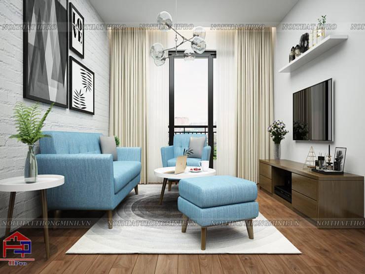 Ảnh 3D thiết kế nội thất phòng khách nhà anh Đức ở Ecolife Capitol Tố Hữu:  Living room by Nội thất Hpro