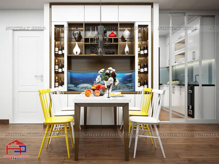 Ảnh 3D thiết kế nội thất phòng ăn nhà anh Đức ở Ecolife Capitol Tố Hữu:  Dining room by Nội thất Hpro