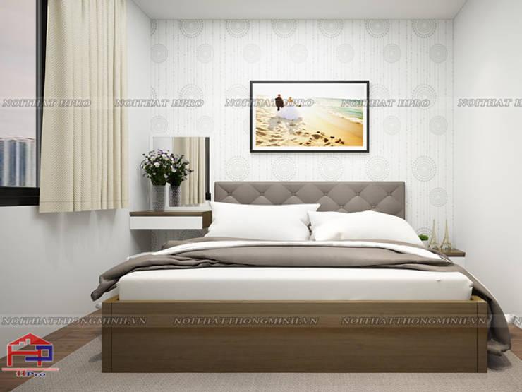 Ảnh 3D thiết kế nội thất phòng ngủ master gỗ melamine nhà anh Đức ở Ecolife Capitol Tố Hữu:  Bedroom by Nội thất Hpro