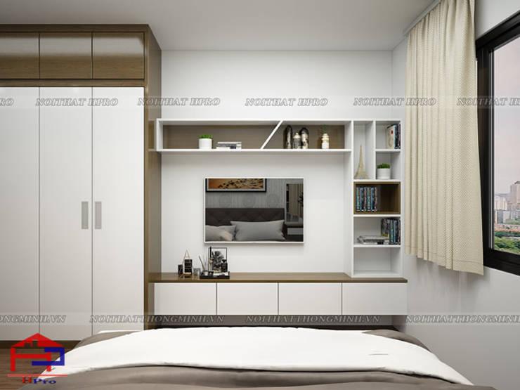Ảnh 3D thiết kế nội thất phòng ngủ master gỗ melamine nhà anh Đức ở Ecolife Capitol Tố Hữu - view:  Bedroom by Nội thất Hpro