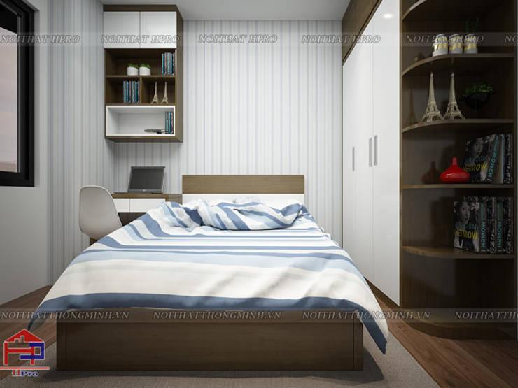 Ảnh 3D thiết kế nội thất phòng ngủ cho bé nhà anh Đức ở Ecolife Capitol Tố Hữu:  Bedroom by Nội thất Hpro