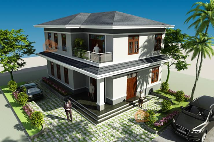 Mẫu biệt thự 2 tầng cách tân đẹp thời thượng tại Hải Phòng:  Văn phòng & cửa hàng by CÔNG TY CỔ PHẦN XD&TM KIẾN TẠO VIỆT