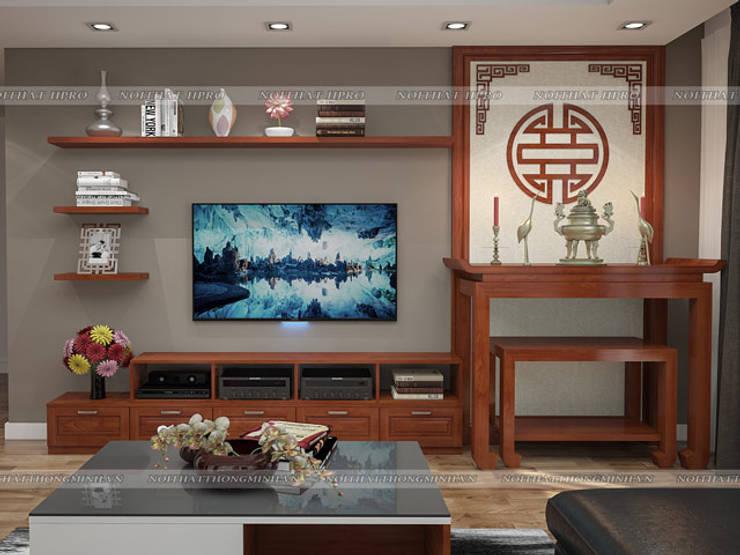 Ảnh 3D thiết kế nội thất phòng khách gỗ xoan đào nhà anh Trọng ở Linh Đàm:  Living room by Nội thất Hpro
