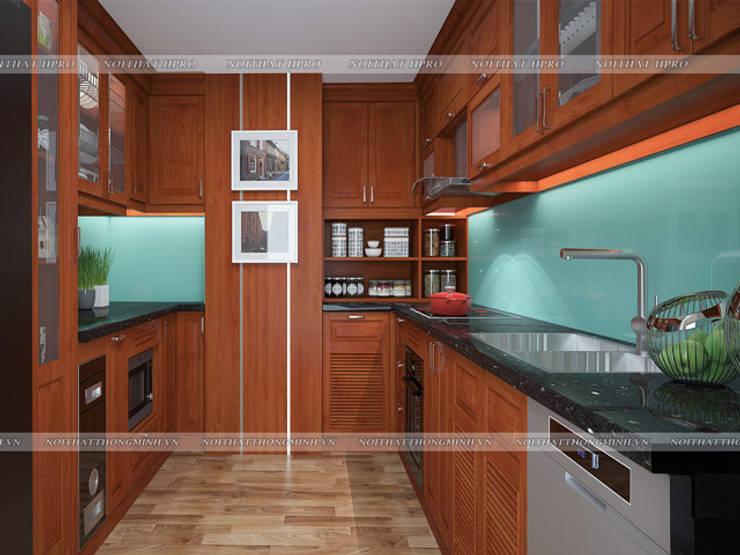 Ảnh thiết kế 3D tủ bếp gỗ xoan đào hình chữ U nhà anh Trọng ở Linh Đàm:  Kitchen by Nội thất Hpro