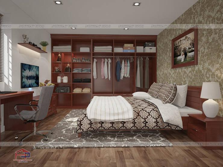 Ảnh 3D thiết kế nội thất phòng ngủ master gỗ xoan đào nhà anh Trọng ở Linh Đàm:  Bedroom by Nội thất Hpro
