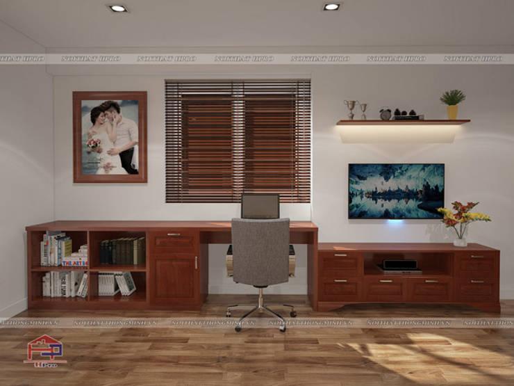 Ảnh 3D thiết kế nội thất phòng ngủ master gỗ xoan đào nhà anh Trọng ở Linh Đàm - view 2:  Bedroom by Nội thất Hpro