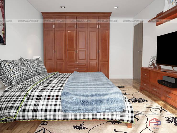 Ảnh 3D thiết kế nội thất phòng ngủ ông bà gỗ xoan đào nhà anh Trọng ở Linh Đàm:  Bedroom by Nội thất Hpro