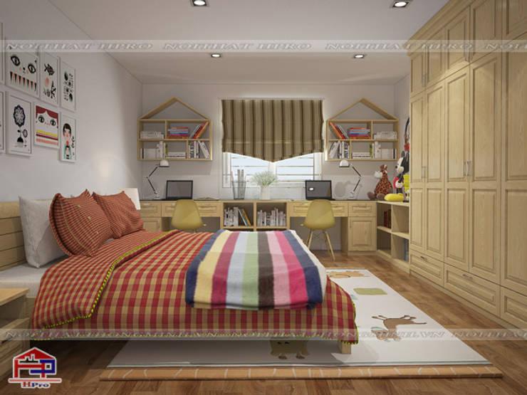 Ảnh 3D thiết kế nội thất phòng ngủ của bé nhà anh Trọng ở Linh Đàm:  Bedroom by Nội thất Hpro