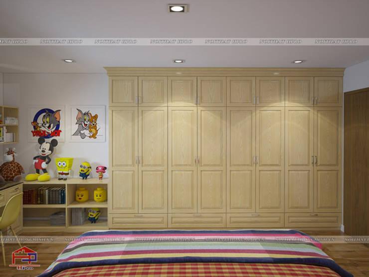 Ảnh 3D thiết kế nội thất phòng ngủ của bé nhà anh Trọng ở Linh Đàm - view 2:  Bedroom by Nội thất Hpro