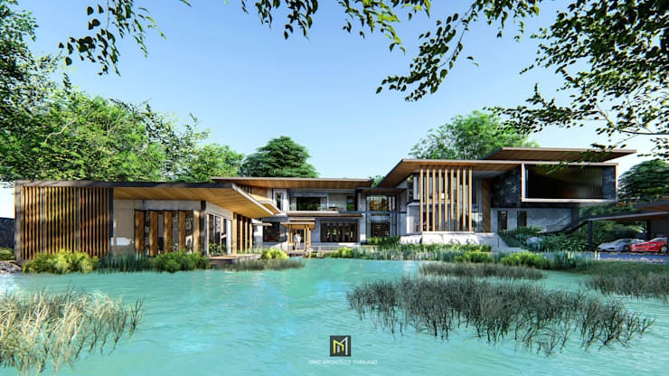 Modern Tropical :  บ้านเดี่ยว by GRID ARCHITECT THAILAND