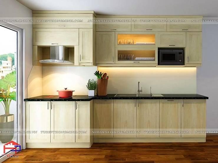Ảnh thiết kế 3D tủ bếp gỗ sồi nga nhà cô Huyền ở Trung Kính:  Kitchen by Nội thất Hpro