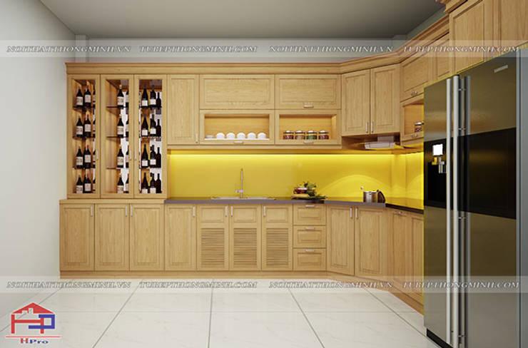 Ảnh thiết kế 3D tủ bếp gỗ sồi mỹ nhà anh Lê ở Minh Khai:  Kitchen by Nội thất Hpro