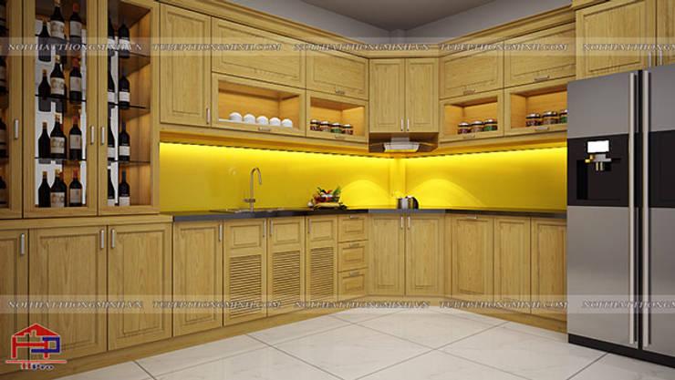 Ảnh thiết kế 3D tủ bếp gỗ sồi mỹ chữ L nhà anh Lệ ở Minh Khai:  Kitchen by Nội thất Hpro