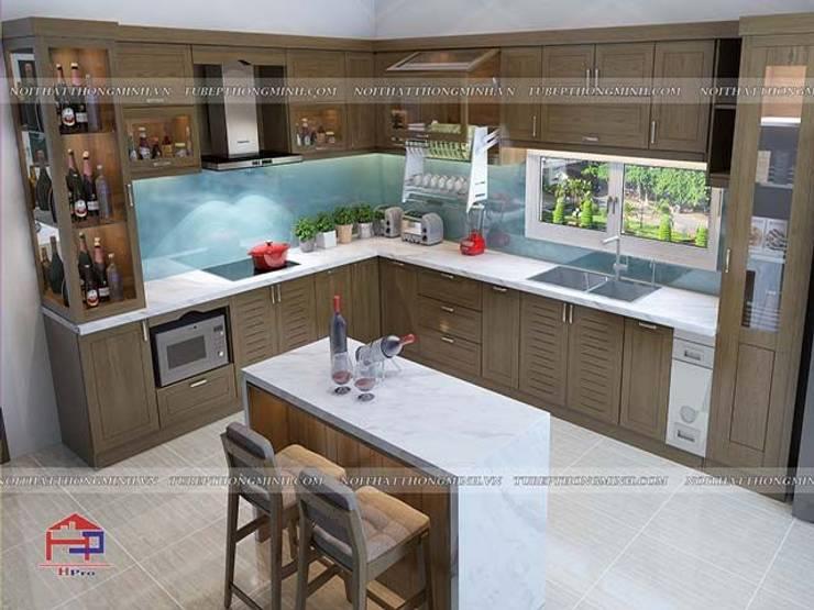 Ảnh thiết kế 3D tủ bếp gỗ sồi mỹ nhà anh Việt ở Thái Nguyên:  Kitchen by Nội thất Hpro