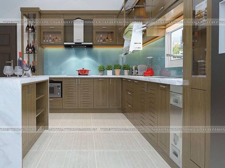 Ảnh thiết kế 3D tủ bếp gỗ sồi mỹ chữ L nhà anh Việt ở Thái Nguyên:  Kitchen by Nội thất Hpro