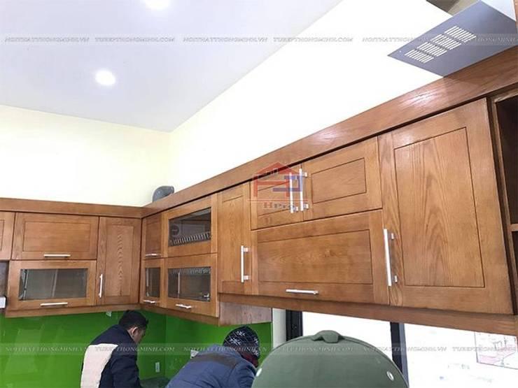 Hình ảnh thực tế ảnh hệ tủ bếp gỗ sồi mỹ trên nhà anh Việt ở Thái nguyên:  Kitchen by Nội thất Hpro