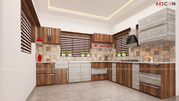 Kitchen by Aescon Builders and Architects