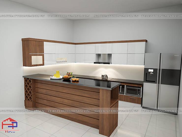 Ảnh thiết kế 3D tủ bếp laminate nhà anh Mạnh ở Bắc Giang:  Kitchen by Nội thất Hpro