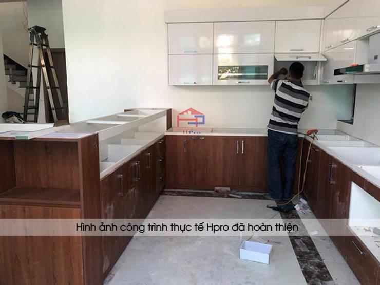 Thi công bộ tủ bếp laminate chữ L nhà anh Mạnh ở Bắc Giang:  Kitchen by Nội thất Hpro
