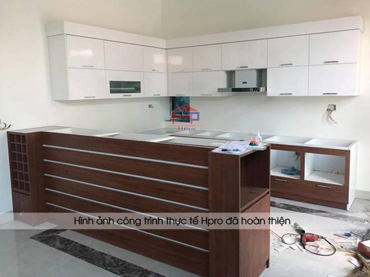 Thi công và lắp đặt tủ bếp laminate kèm bàn đảo nhà anh Mạnh ở Bắc Giang:  Kitchen by Nội thất Hpro