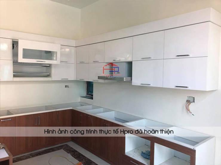Lắp đặt tủ bếp laminate kèm bàn đảo nhà anh Mạnh tại Bắc Giang:  Kitchen by Nội thất Hpro