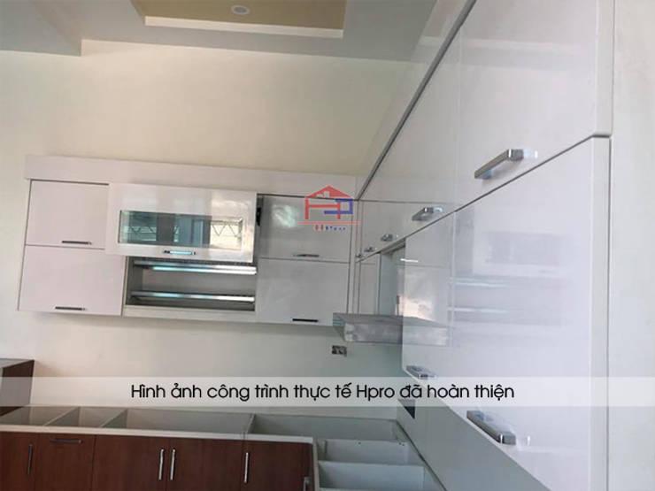 Tiến hành thi công tủ bếp laminate nhà anh Mạnh tại Bắc Giang:  Kitchen by Nội thất Hpro