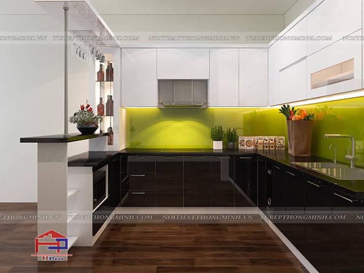 Ảnh thiết kế 3D tủ bếp acrylic nhà anh Tân ở Thạch Bàn:  Kitchen by Nội thất Hpro