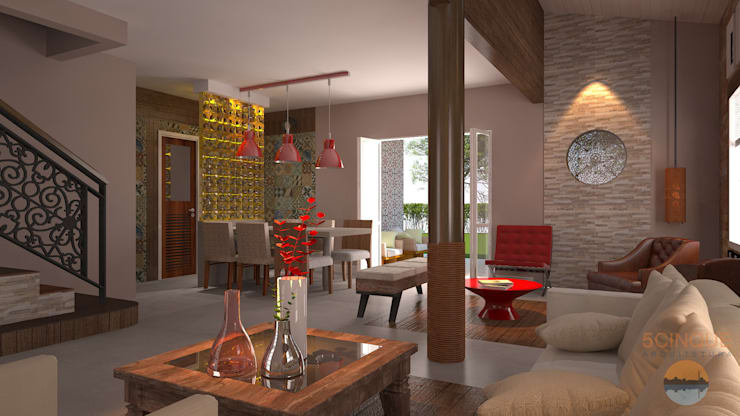 Projekty,  Salon zaprojektowane przez 5CINQUE ARQUITETURA LTDA