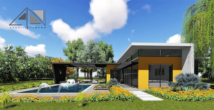 Vista exterior, salón - comedor, zona de estar - piscina y jacuzzi.:  de estilo  por ARQUITECTOnico