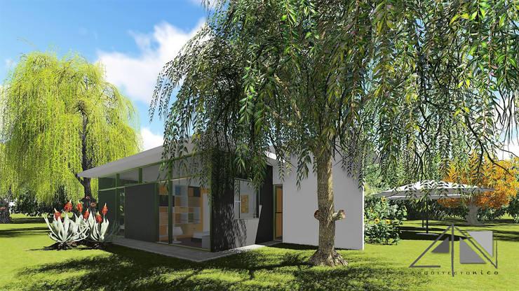 Vista exterior habitaciones - jardines.:  de estilo  por ARQUITECTOnico