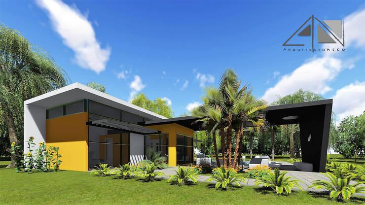 Vista exterior Habitación principal, estar, piscina y jacuzzi.:  de estilo  por ARQUITECTOnico