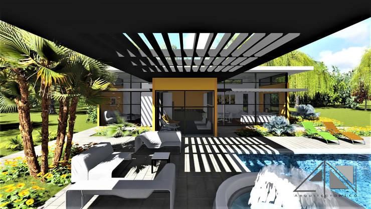Vista exterior, zona de estar - piscina y jacuzzi.:  de estilo  por ARQUITECTOnico