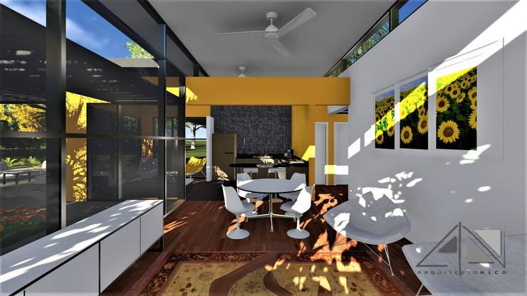 Salón - comedor y cocina al fondo.:  de estilo  por ARQUITECTOnico