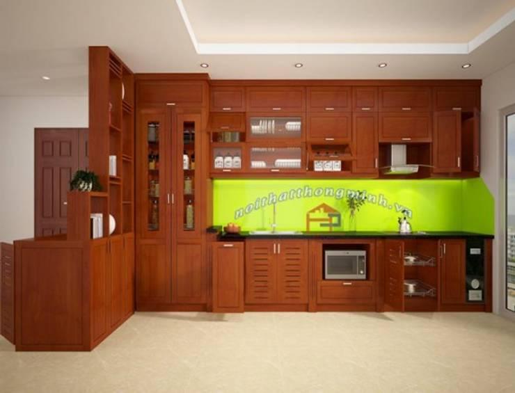 Ảnh thiết kế 3D tủ bếp gỗ xoan đào kèm vách ngăn nhà chị Loan ở Thụy Khuê:  Kitchen by Nội thất Hpro