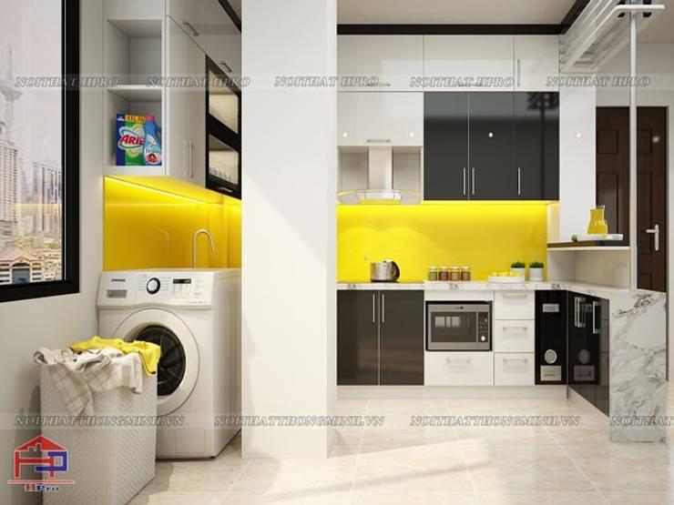 Ảnh 3D thiết kế tủ bếp acrylic nhà chị Ngọc tại Chùa Láng:  Kitchen by Nội thất Hpro