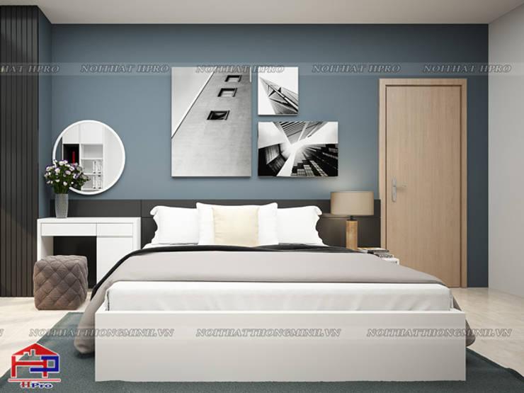 Ảnh 3D thiết kế nội thất phòng ngủ master nhà chị Ngọc ở Chùa Láng:  Bedroom by Nội thất Hpro