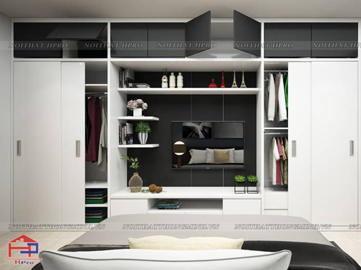 Ảnh 3D thiết kế nội thất phòng ngủ master nhà chị Ngọc ở Chùa Láng - view 2:  Bedroom by Nội thất Hpro