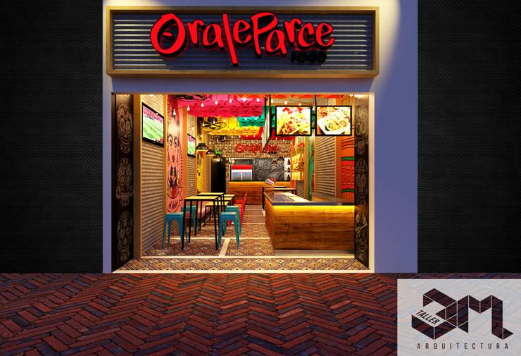 """Fachada Restaurante """"Oraleparce"""" /Ibagué - Tolima: Espacios comerciales de estilo  por Taller 3M Arquitectura & Construcción"""
