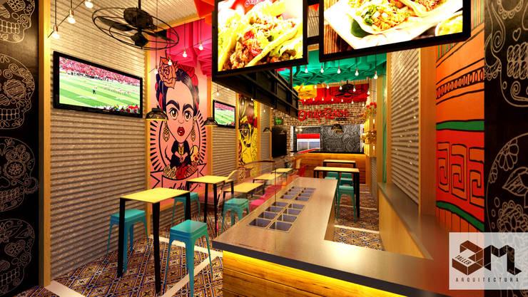 """Imagen interior Restaurante """"Oraleparce"""" /Ibagué - Tolima: Espacios comerciales de estilo  por Taller 3M Arquitectura & Construcción"""