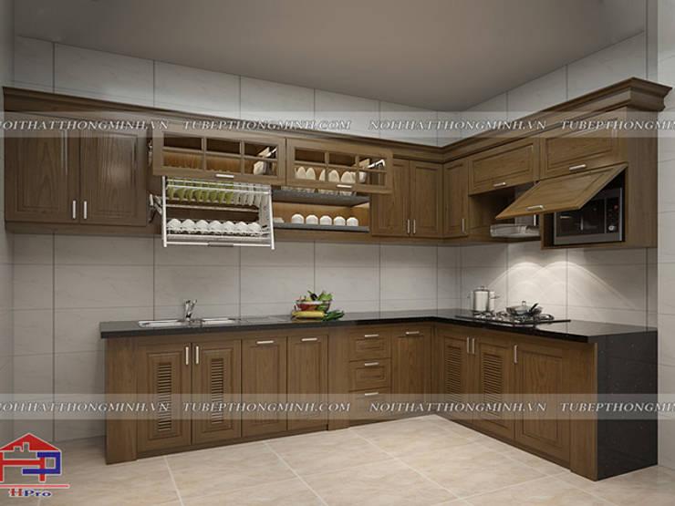 Bản vẽ thiết kế 3D tủ bếp gỗ sồi mỹ nhà chú Tâm ở Mê Linh:  Kitchen by Nội thất Hpro