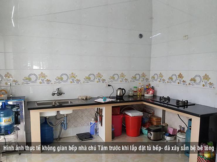 Khảo sát đo đạc thực tế không gian nhà bếp nhà chú Tâm ở Mê Linh:  Kitchen by Nội thất Hpro
